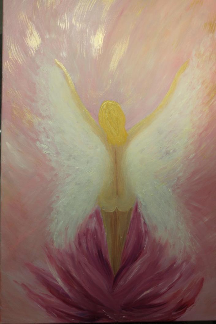 winged angel feminine oil painting